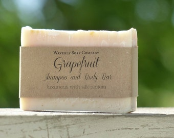 Grapefruit Luxury Shampoo and Body Bar with silk protein/Natural Shampoo