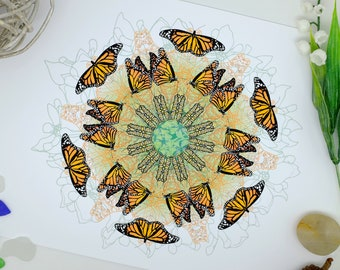 Monarch Butterfly Print, Mandala Wall Art, Watercolour Painting, Living Room Art, Home Decor, Wildlife Print, Poster Art, A3 Print