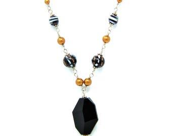 Black Beaded Necklace, Black Pendant Necklace, Black & Bronze Pearl Necklace Set, Black Stone, Black Pendant Necklace Set
