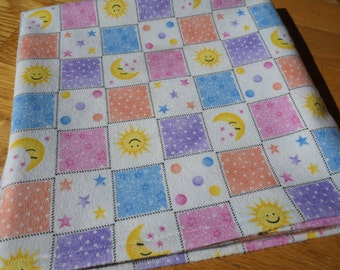 Baby Flannel Receiving Blanket, Sun Moon and Stars, Swaddle Blanket, Large Blanket, Pink Blue and Yellow, Baby Blanket, Flannel Blanket