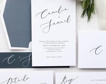 Charlotte Dusty Blue Wedding Invitation Sets, Wedding Invitation Kits, Dark Blue, Dark Grey, Envelope Liners, White Wax Seals, Minimalist
