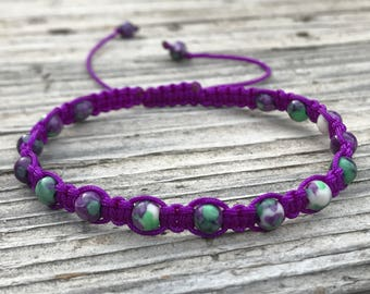 Purple Bead Bracelet, Purple Beaded Anklet, Macrame Friendship Bracelet, Beaded Bracelet, Boho Bracelet, Gift for Her, Gift, Surf Bracelet