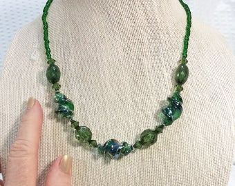 Green Iridescent Bead Necklace