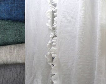 White Linen Ruffled curtains grey linen panels Natural linen curtains linen curtains with ties drapery linen window panel with ruffles