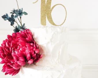 16 Birthday Cake Topper • Sixteen Cake Topper • Gold Glitter Topper • Age Cake Topper • Number Cake Topper • Sweet 16 • Birthday Decor