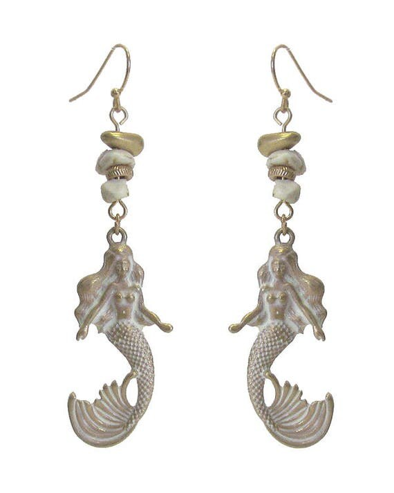 Wholesale-Embellished Mermaid Earrings ,  White, Gold, Turquoise