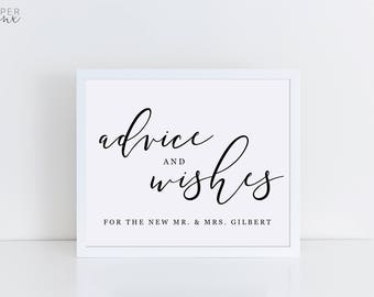 Printable Advice and Wishes Sign   Wedding Signs   Editable Advice Sign   Black and White Sign   Well Wishes For the New Mr and Mrs Sign