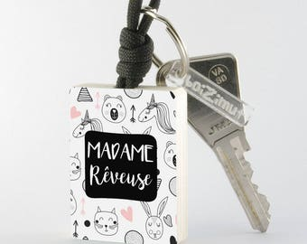 "Porte-Clé en bois collection Madame ""Madame Rêveuse"""