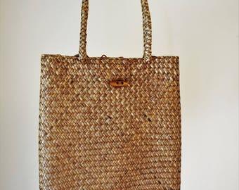 Retro  Beach Bag, Straw Bag, Straw Market Bag, Wicker Bag, Straw Tote, Retro Shopping Bag, Beach Vacation Bag