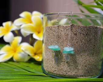 Sea Glass Dangle Drop Earrings; Sterling Silver; Boho