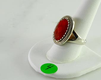 Red Stone Sterling Ring Size 10
