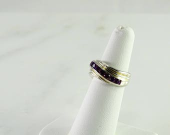 Purple Chanel Set Stones Sterling Silver Size 6 Ring