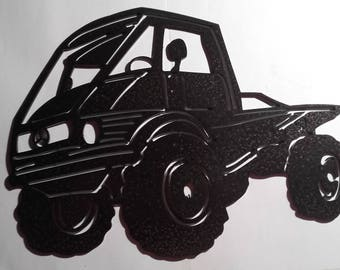 Plate teaches steel MERCEDES UNIMOG hammered effect paint finish