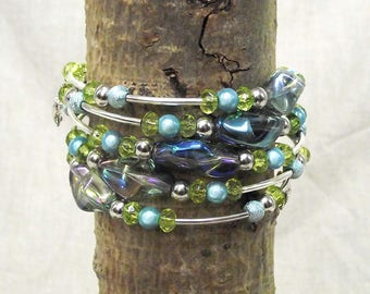 Gorgeous Hand-made 5 Loop Memory Wire Bracelet With Purple, Light Blue, Light Green and Silver Tones - One Size Fits All