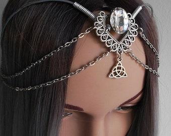 Mediavel tiara, gothic tiara, crown,elvish diadem with chain, gemstone, triquetra, triskell, handfasting