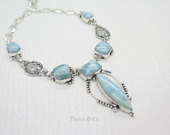 Antique Larimar Sterling Silver Necklace
