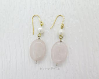 Rose Quartz and Pearl Gold plated Earrings