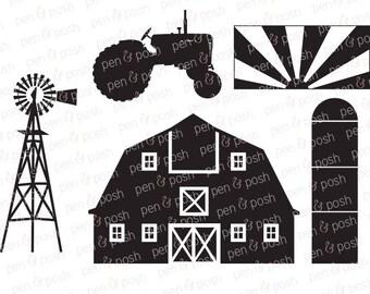 Farm SVG - Tractor SVG - Farm DXF - Farm Silo  Farm Windmill  Country  Redneck  Farm Svg Files - Farm Cut