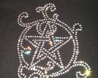 Fancy Pentacle Crystal Rhinestone Women's T-Shirt