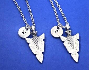 Silver arrowhead, arrowhead necklace, arrowhead charm, Friendship jewelry, 2 best friends necklace, silver arrowhead, matching set of 2