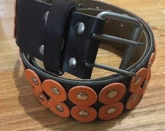 Vintage festival belt with eyelets and Doble Buckle tongues Brown and Orange Fit Medium and Large