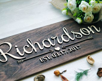 Family Name Sign Wood, Last Name Wood Sign, Wall Art, Anniversary Gift, Wedding Gift, Family Established Sign, Personalized Family Sign