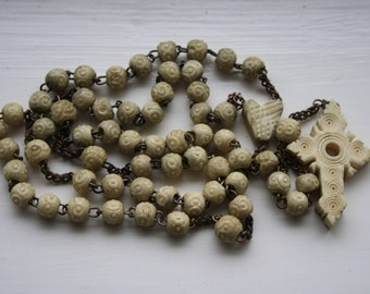 Antique Rosary carved bone or celluloid cross and beads, Stanhope style rosary without Stanhope viewer. Worn discoloured religious souvenir