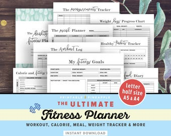 Fitness Planner Printable, Health Planner, Fitness Journal, Workout Log, A5, A4, Letter, Food Diary, Calorie Tracker, Daily Weight Loss, PDF