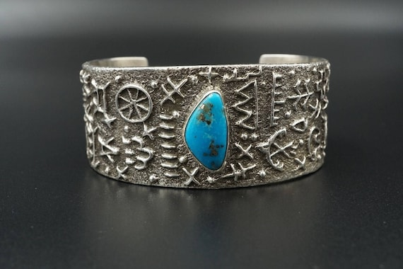 Tufa Cast Delford Yazzie Sterling Silver Kingman Turquoise Cuff Bracelet BS1246