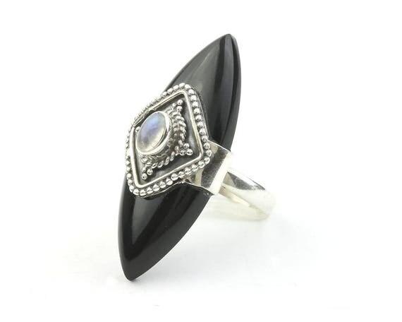 Black Widow Ring, Sterling Silver Moonstone Ring, Shield, Black Onyx, Statement Piece, Festival Jewelry, Boho, Gypsy, Hippie, Spiritual