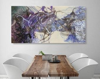 "Extra large wall art, horizontal wall art, Canvas art large blue artwork ocean art on canvas brown blue painting ORIGINAL painting-27 x 53"""
