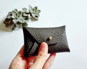 Dark brown leather card case with a polka dot pattern / Brown envelope card holder / Brown leather business card case / Genuine leather