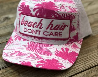 Beach Hair Dont Care - Pink Palm Tree Patch Hat