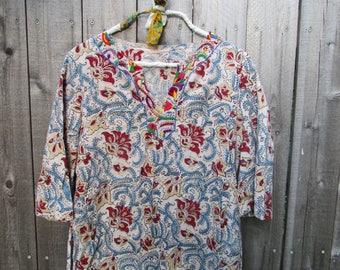 Vintage Shirt Blockprint Blouse Vintage Cotton Blouse Embroidered Shirt Embroidered Boho Shirt Bohemian Embroidery Boho Blouse Flower Print