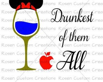Snow White svg.disney. drinking. drunk. poison apple.