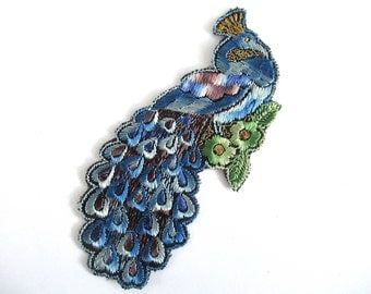 Peacock Applique 1930s Antique Embroidered Peacock applique, patch. Vintage bird patch, sewing supply. #6ADG9AK4