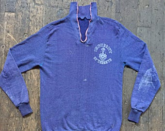 1960s University Of Toronto - pull over center zip well worn and perfectly soft purple sweat shirt