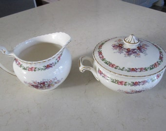 Surgar Bowl and Creamer set in Queen's Bouquet Old English by Johnson Bros