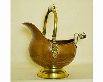 Antique Coal Scuttle- Copper/Brass/Ceramics -Dutch-Early 20th Century