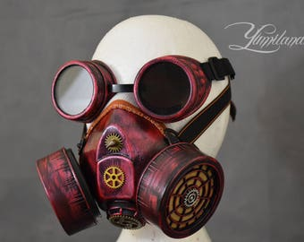 Red Cosplay Respirator Mask with Goggles | Cyberpunk gas mask | Burning Man Mask | Cyberpunk respirator | Cyber goth mask | Cyberpunk mask