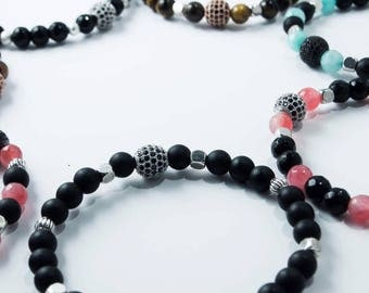 Bracelets beads & ball black zirconiums