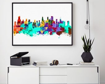 Chicago Skyline Print, Chicago Home Decor, Watercolor Cityscape, Chicago Wall Art, Chicago Poster, Bedroom Decorations (N133)