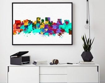 El Paso Skyline Print, El Paso Painting, El Paso Art, El Paso Wall Decor, Watercolor El Paso, Texas Art, El Paso Bedroom Decor (N183)