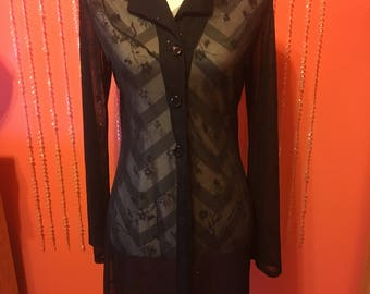 Vintage 90's sheer black long sleeved gothic dress/see through black button down top/sheer black glitter top