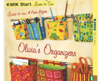 Sewing Pattern for Rod Hanging Organizers, Kwik Sew # 3900, A Learn-to-Sew Pattern, Very Easy, Wall Organization, Sewing Room, Craft Room