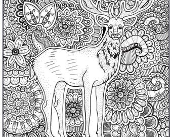 Stag Coloring Page Book Pages Printable Adult Hand Drawn Art
