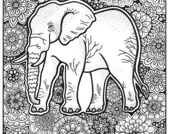 Elephant Coloring Page Book Pages Printable Adult Hand Drawn Art