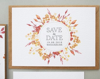 Kelsie + Max Save The Date | Save The Date | Autumnal Wedding Invitation Set | Floral Wreath Save The Date | Watercolour Wedding Stationery