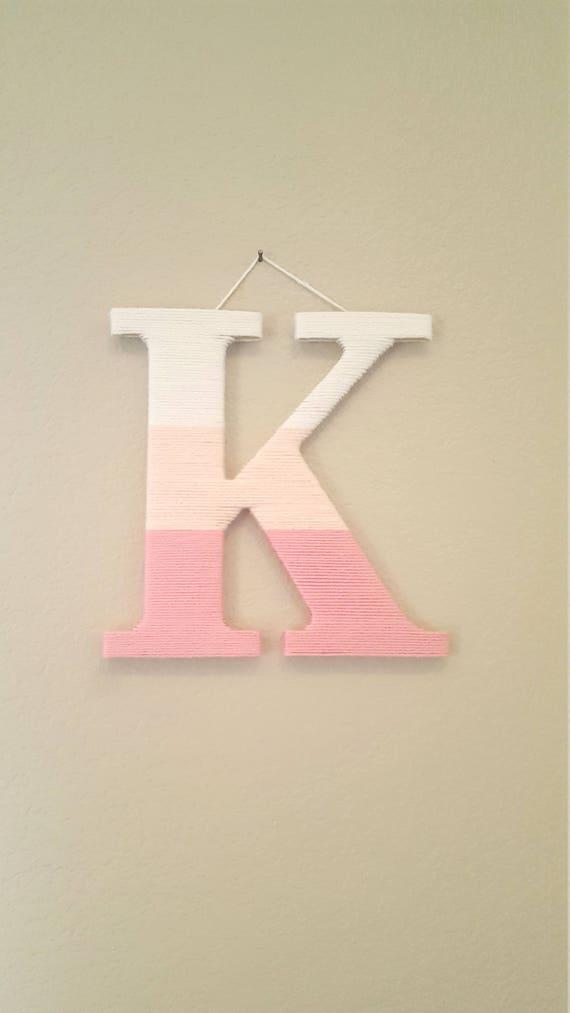 Nursery Letter K Pink Ombre Yarn Letter Nursery Letter Kids Room