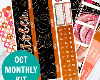 October Monthly View Sticker Kit (120 + Planner Stickers) (Stickers for Erin Condren Life Planner and MAMBI Happy Planner)